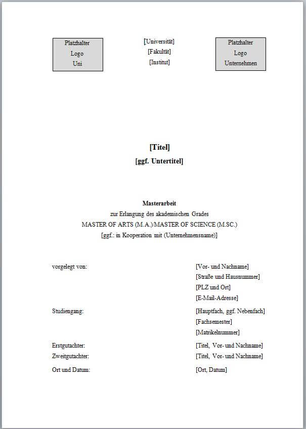 deckblatt englische bachelor thesis