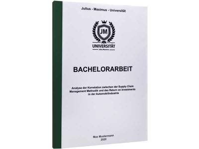 Bachelorarbeit drucken lassen in der Klebebindung dunkelgrün