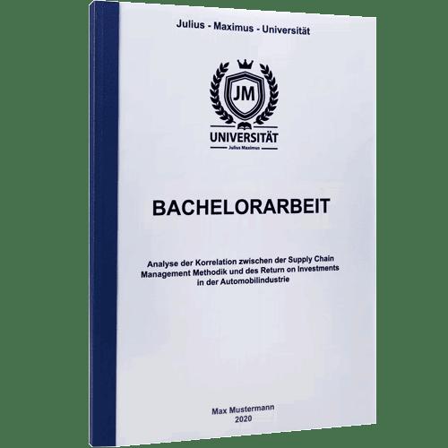 Bachelorarbeit drucken lassen mit der Klebebindung blau