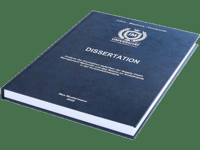 Dissertation drucken und binden lassen im Premium Hardcover dunkelblau