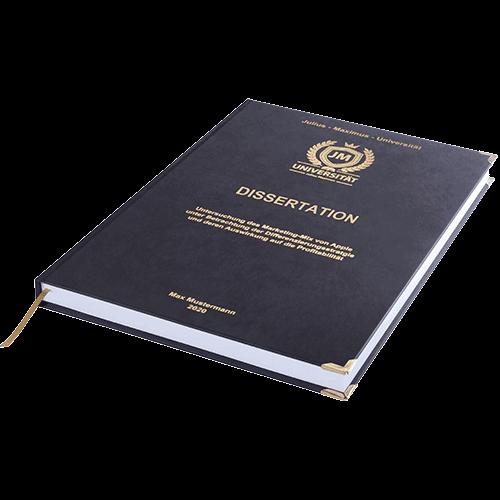 Dissertation drucken und binden mit der Premium Hardcover Bindung schwarz liegend