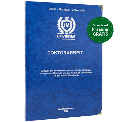 Doktorarbeit binden lassen im Standard-Hardcover royalblau
