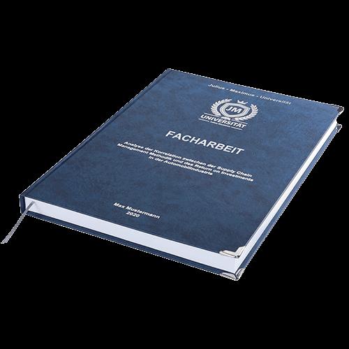 Facharbeit drucken und binden mit der Premium Hardcover Bindung dunkelblau liegend