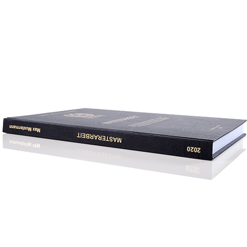 Masterarbeit binden lassen im Standard Hardcover Buchrücken