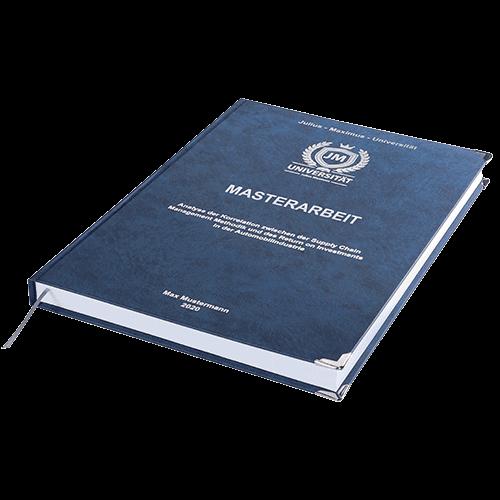 Masterarbeit drucken und binden mit der Premium Hardcover Bindung dunkelblau liegend