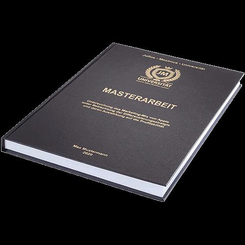 Masterarbeitbinden lassen im Standard Hardcover liegend