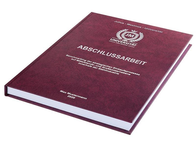Premium Hardcover-Bindung bordeauxrot liegend