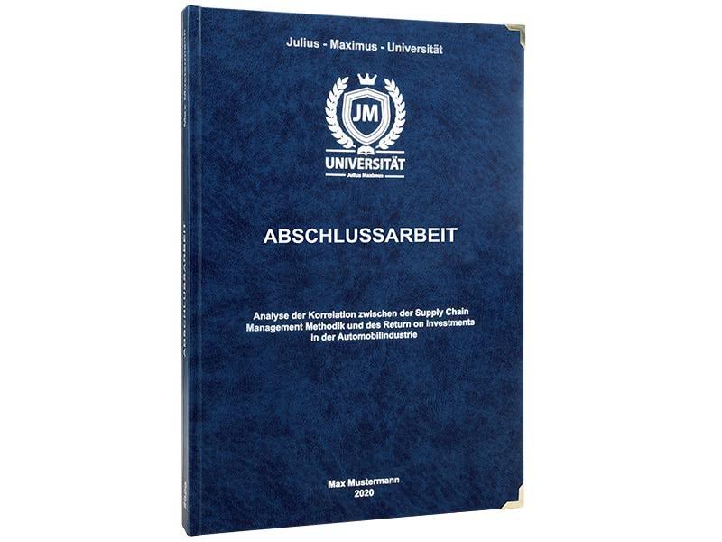 Premium Hardcover-Bindung dunkelblau stehend