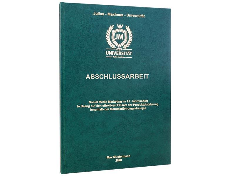 Premium Hardcover-Bindung dunkelgrün stehend