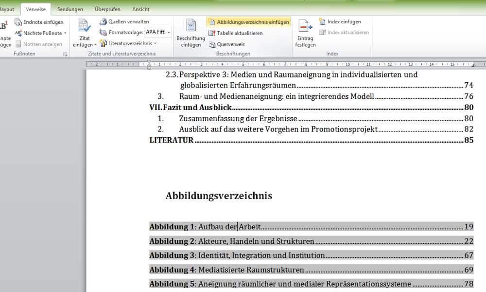 Abbildungsverzeichnis aktualisieren in Word