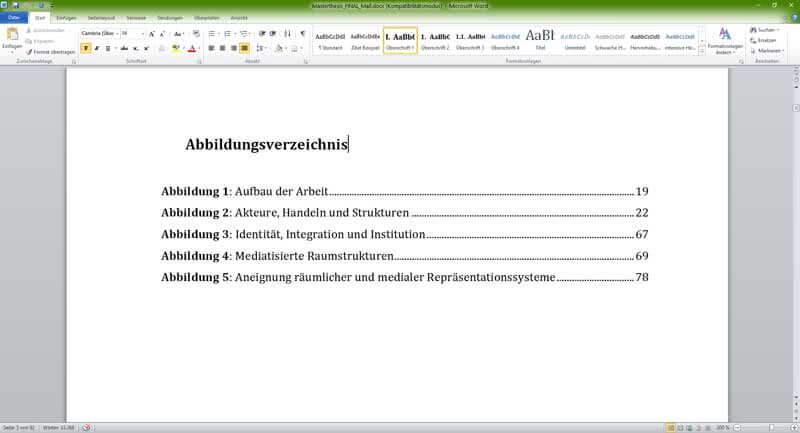 Abbildungsverzeichnis in Word erstellen