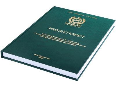 Projektarbeit drucken und binden lassen im Premium Hardcover dunkelgrün