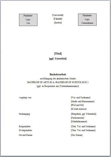 Vorlage Deckblatt Bachelorarbeit mit Logo