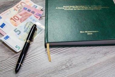 Kosten für das Drucken und Binden der Dissertation