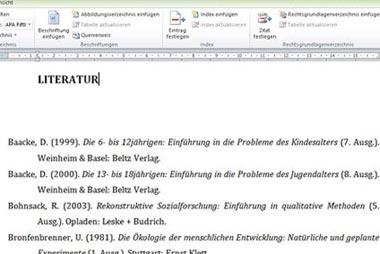 Literaturverzeichnis für die Facharbeit erstellen