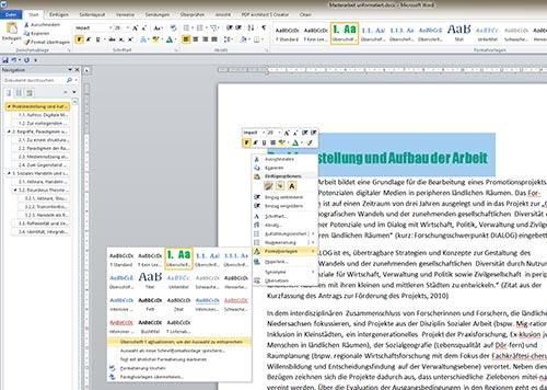 Überschrift formatieren Word Inhaltsverzeichnis S