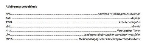 Abkürzungsverzeichnis in Word
