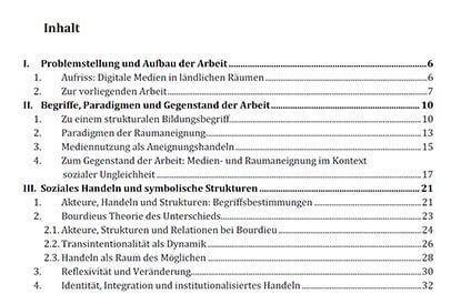 Inhaltsverzeichnis für die Dissertation erstellen