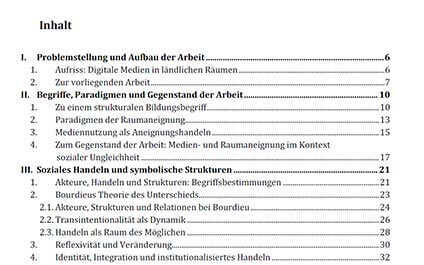 Inhaltsverzeichnis für die Doktorarbeit erstellen