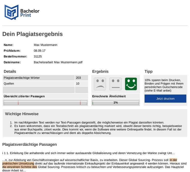 Beispiel Plagiatsreport nach online Plagiat-Check