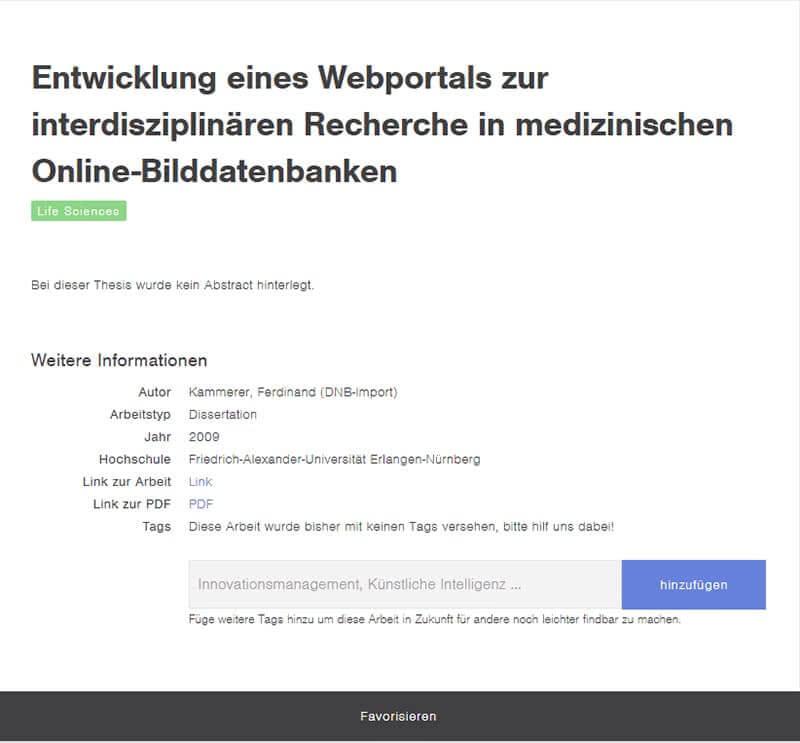 Beispiel Thesius Recherche-Datenbank