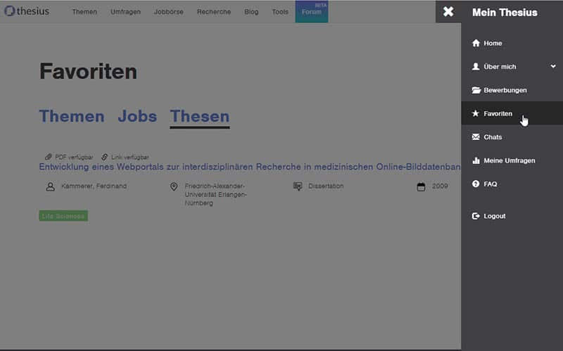 Favoriten bei der Thesius Recherche-Datenbank