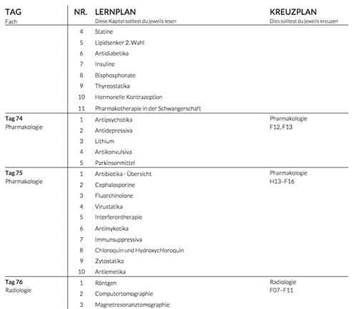 Lernplan erstellen Studium Beispiel S