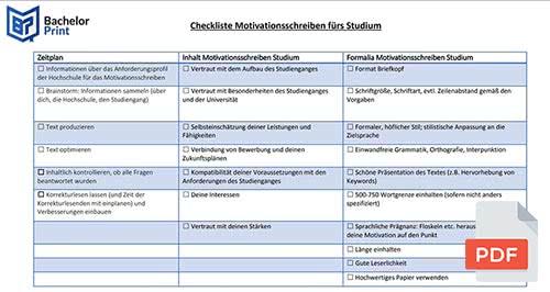 Motivationsschreiben Studium Checklist