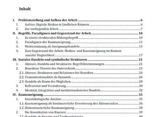 Beispiel Inhaltsverzeichnis in Word Vorschau