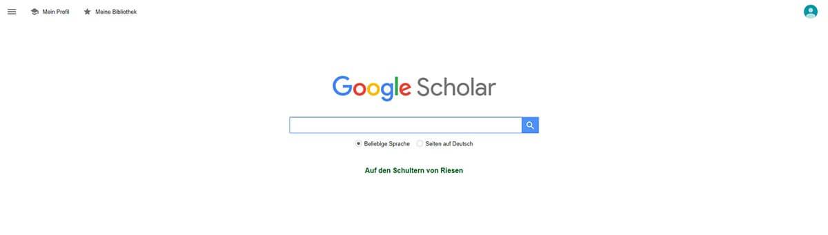 Google Scholar Startseite