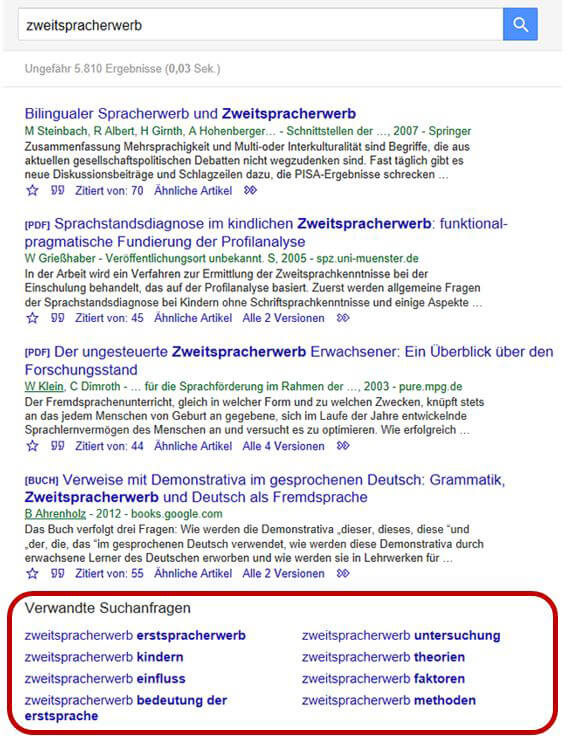 Google Scholar Verwandte Suchanfragen