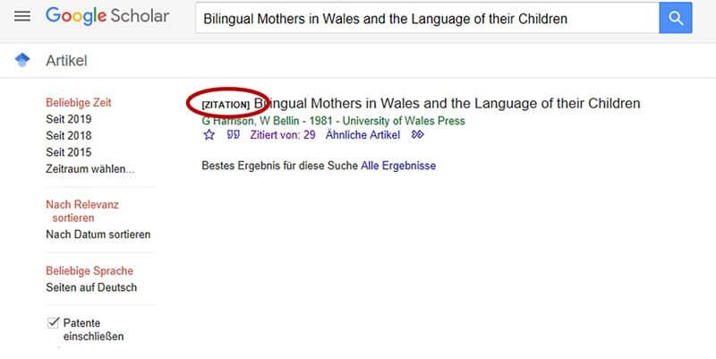 Google Scholar Zitation