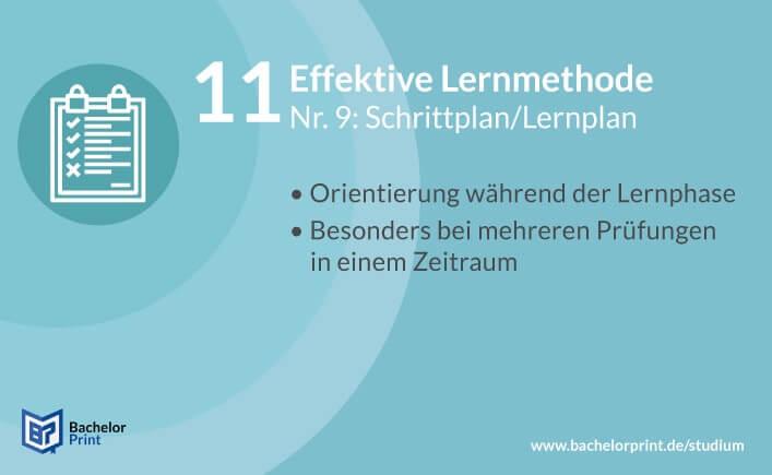 Effektive Lernmethode Lernplan
