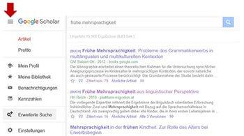 Google Scholar Erweiterte Suche Button