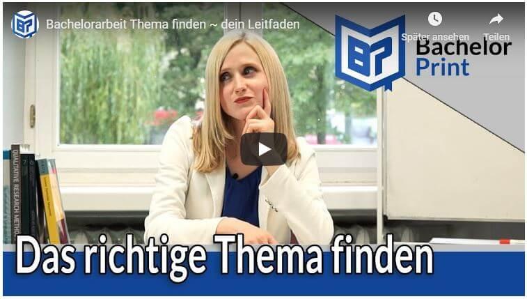Bachelorarbeit Thema finden Video Tutorial