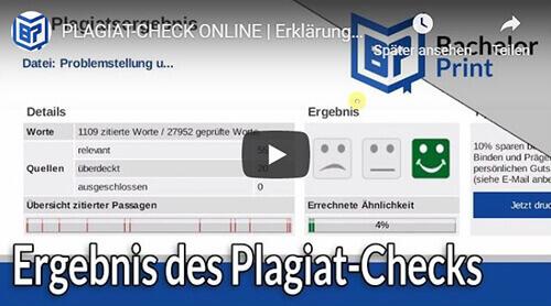 Plagiat Check Erklärung Plagiatsreport Überblick