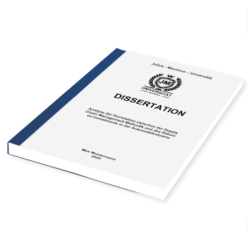 Dissertation binden Klebebindung liegend blau