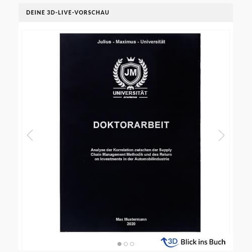 Doktorarbeit binden Magazinbindung 3D-Live-Vorschau