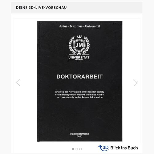 Doktorarbeit binden Standard Hardcover 3D-Live-Vorschau