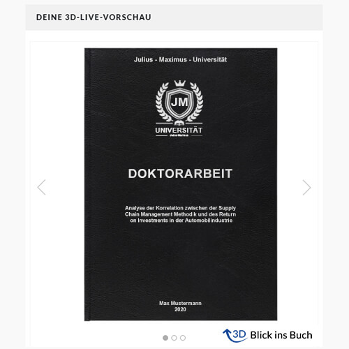 Doktorarbeit Standard Hardcover 3D-Live-Vorschau