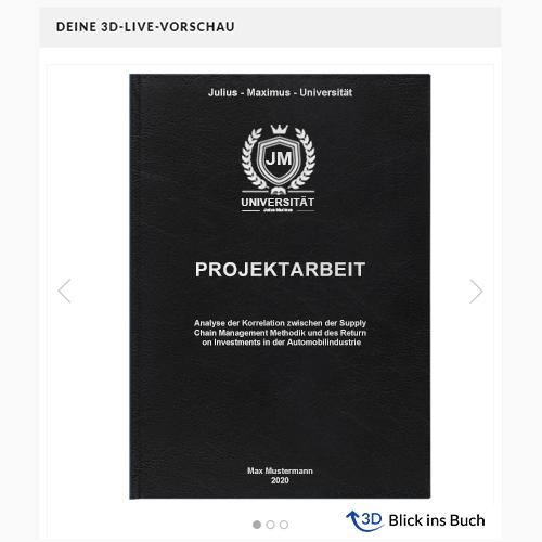 Projektarbeit drucken binden Hardcover-Bindung schwarz