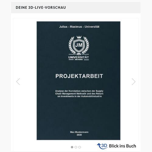 Projektarbeit drucken binden Hardcover Premium Blick ins Buch